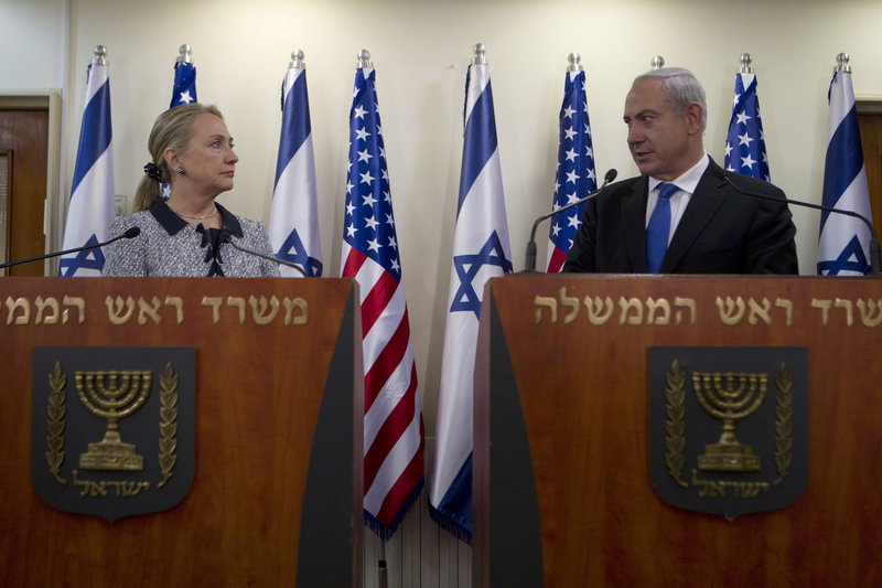 U.S. Secretary of State Hillary Rodham Clinton and Israel's Prime Minister Benjamin Netanyahu discuss their peace efforts on Tuesday in Jerusalem.