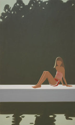"""Tracy on the Raft at 7:30,"" 1982 oil on canvas by Alex Katz, from ""Maine/New York,"" continuing through Dec. 30 at the Colby College Museum of Art in Waterville."