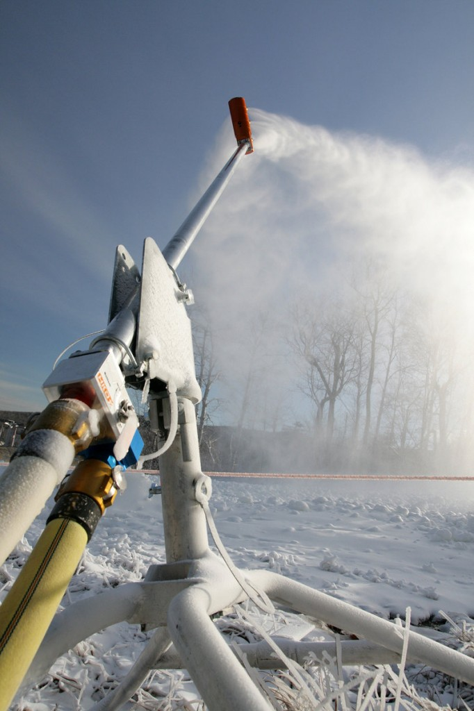 At Sugarloaf, the 45-man crew starts making snow at 28 degrees. Previously, they wouldn't start drawing water from the Carrabassett River until it was 26 degrees.