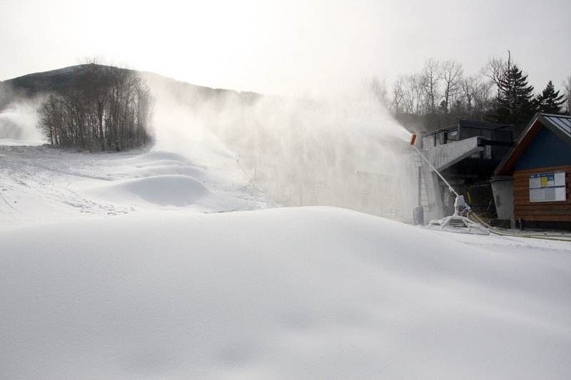 Sugarloaf began making snow early this month after investing $1 million in 300 low-energy snowmaking guns, bringing its total number of low-e guns to 450. The ski area plans to replace its 150 older-model guns before next season.