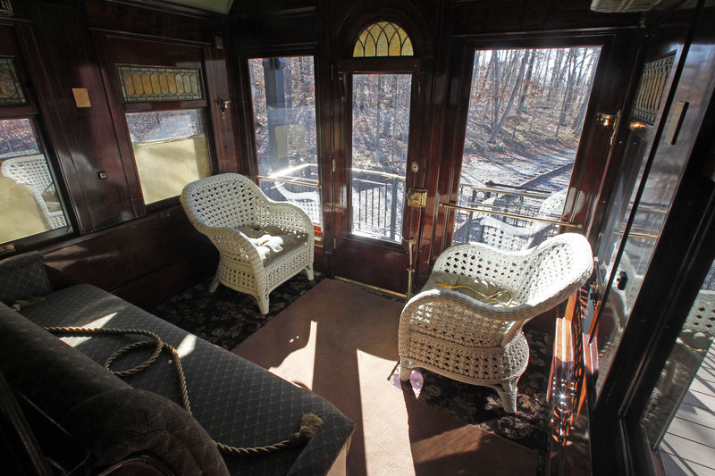 A view out the window of the Robert Todd Lincoln mansion Hildene on Monday, Nov. 19, 2012 in Manchester, VT. The Georgian Revival home was built in 1905 by Robert Todd Lincoln, the only one of the president's four children to survive to adulthood.(AP Photo/Toby Talbot)