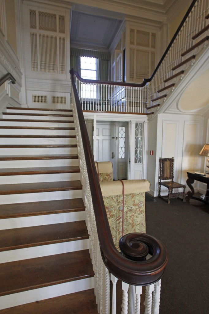 This Monday, Nov. 19, 2012 photo shows the front stairway and pipe organ are seen at the Robert Todd Lincoln mansion Hildene on Monday, Nov. 19, 2012 in Manchester, VT. The Georgian Revival home was built in 1905 by Robert Todd Lincoln, the only one of the president's four children to survive to adulthood. (AP Photo/Toby Talbot)