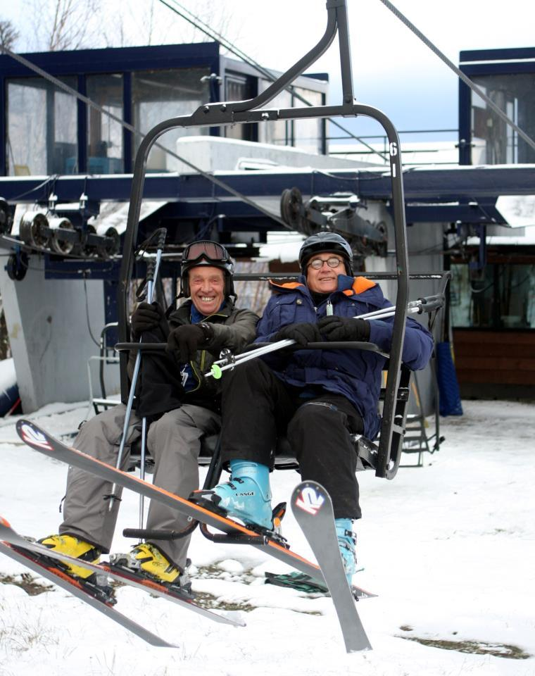 John Christie, left, and his buddy Don Fowler look like they're up for the challenge of another winter on opening day at Sugarloaf in the Carrabassett Valley.