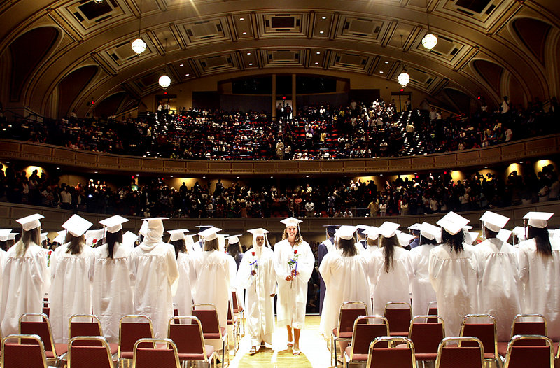 This June 2008 file photo shows the Portland High School graduation at Merrill Auditorium at City Hall in Portland. Maine's high school graduation rate ranks 10th in the nation, according to the first data released by the U.S. Department of Education that uses the same standard for all states.