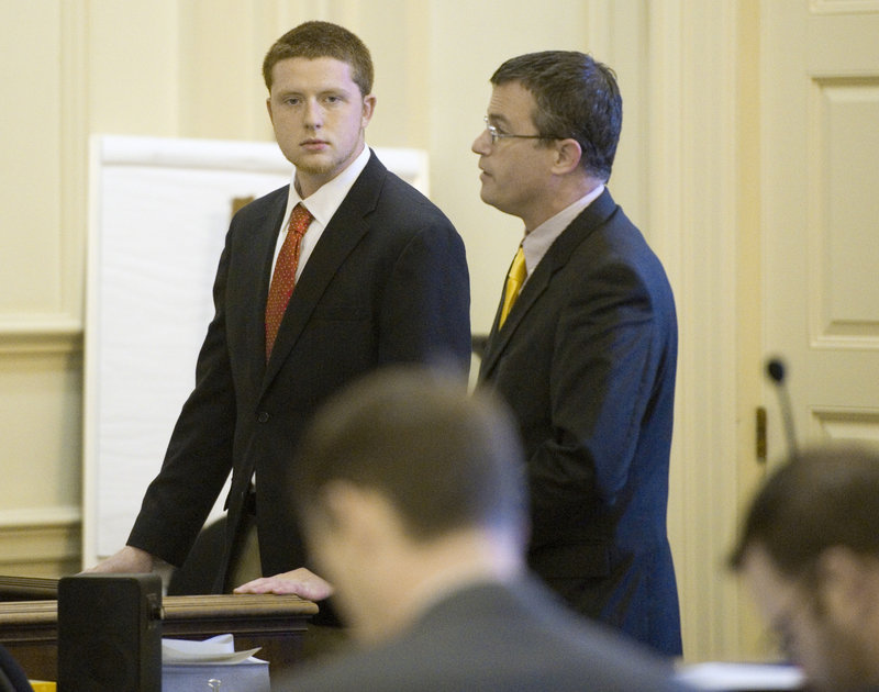 Christopher Bennett, left, and his attorney, Randall Bates, in York County Superior Court on Friday.