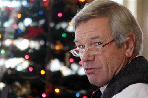 In this photo taken Thursday Dec. 6, 2012 of John Pfeifle Bradford, N.H. is seen during his lunch break at Robie's Country Store and Deli in Hookset, N.H. Pfeifle, says that both Obama and House Republicans seem prepared to push the nation over the fiscal cliff.(AP Photo/Jim Cole)