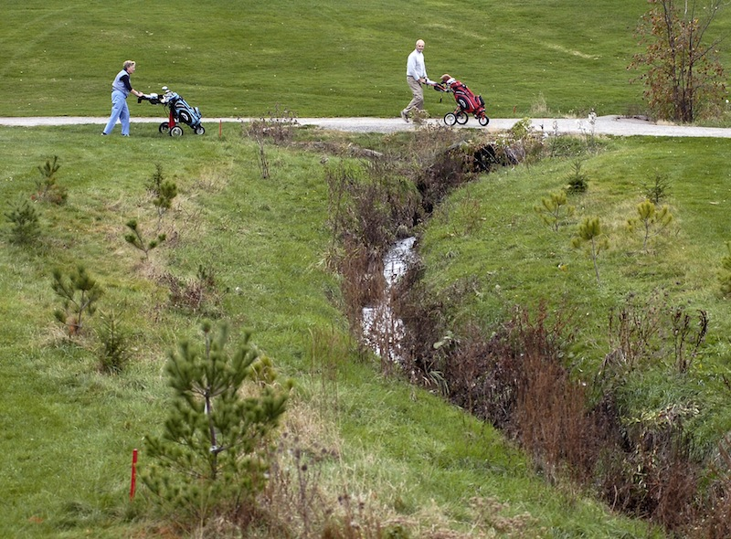 In this November 2007 file photo, Judy and Gerry Ducharme of Falmouth play golf at Riverside Golf Course in Portland. The city-owned Riverside Golf Course should be operated by a private company through a lease with the city, or Portland should invest its own money to improve the course and keep it a public entity, says a consulting firm hired by the city.