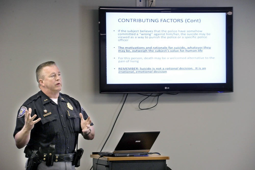 Friday, April,6, 2012. Sanford police chief Tom Connolly conducts a crisis intervention team training class at the Sanford Police Station.