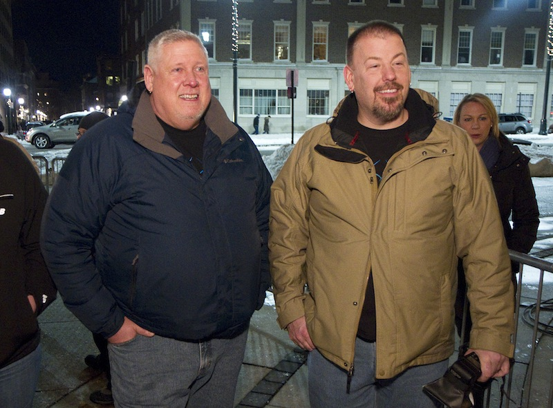 Michael Snell and Steven Bridges of Portland wait in line at Portland City Hall to be the first gay couple in Maine to be married on Friday, Dec. 28, 2012.