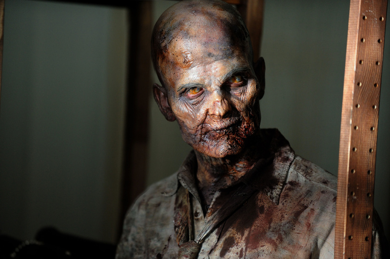 "A zombie looks for someone to munch on in a scene from AMC's TV show, ""The Walking Dead."" A crowd of zombies can be relentless, which happens to be the perfect metaphor for tea party Republican politics."
