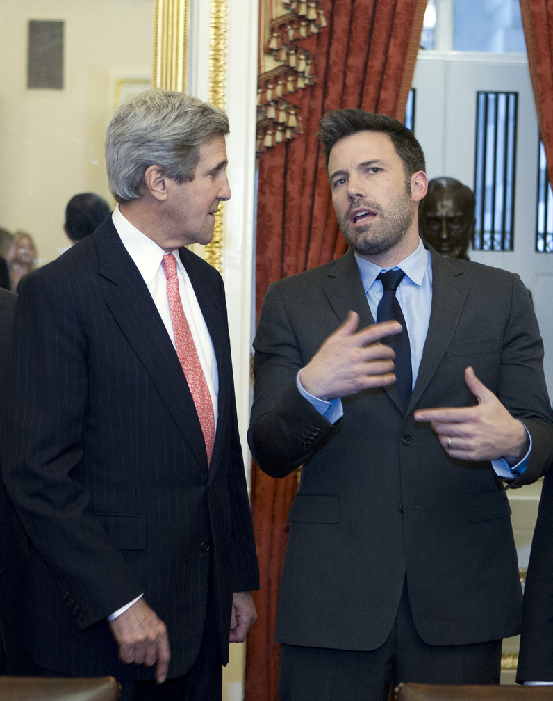 Sen. John Kerry, D-Mass., speaks with actor Ben Affleck, who testified about the Congo on Wednesday.