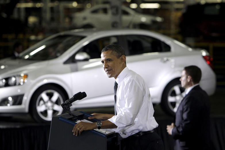 President Obama speaks last year at General Motors' Orion assembly plant in Orion Township, Mich., where the government's bailout played well among voters.