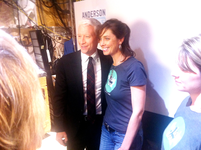 TV host Anderson Cooper and Leigh Kellis, who owns the Holy Donut in Portland, during a taping of the