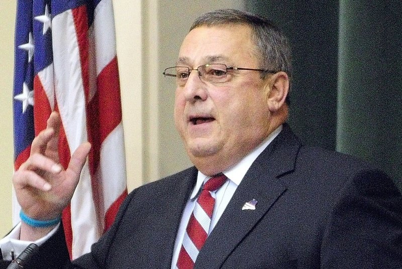 Gov. Paul LePage gives his first State of the State Address to a joint convention of the Maine House and Senate he on Tuesday evening at the State House in Augusta.