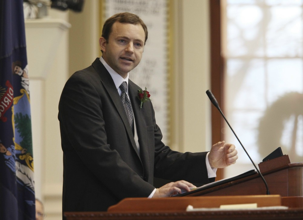 Newly-elected Speaker of the House Mark Eves of North Berwick, speaks Wednesday, Dec. 5, 2012 at the swearing in ceremony for new representatives at the State House in Augusta, Maine. (AP Photo/Joel Page)
