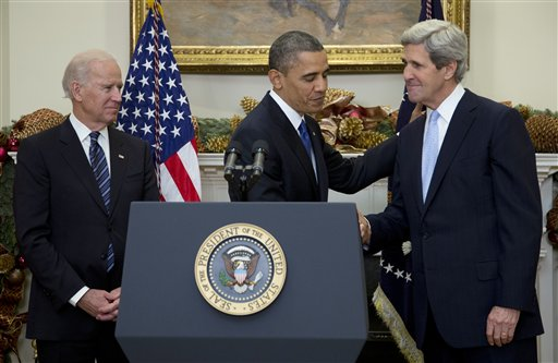 President Obama shakes hands with Sen. John Kerry, D-Mass., as he announces his nomination of Kerry as next secretary of state in the Roosevelt Room of the White House on Friday. Vice President Biden is at left.