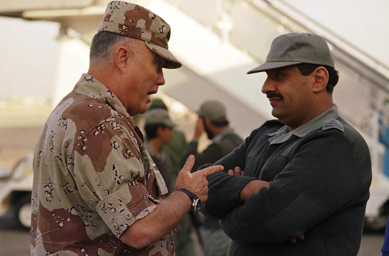 Gen. Norman Schwarzkopf, then commander of U.S. forces in the Gulf, left, confers with Saudi Arabian Lt. Gen. Khalid Bin Sultan, commander of multinational forces in the area, in Riyadh in 1990.