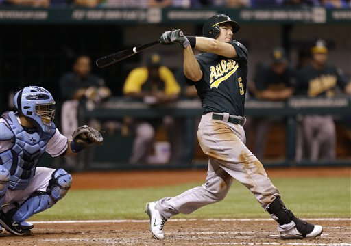 An Aug. 23, 2012, photo of then-Oakland Athletics' Stephen Drew batting in front of Tampa Bay Rays catcher Jose Molina during a game in St. Petersburg, Fla.