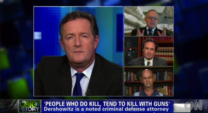 """A screen shot from an August episode of """"Piers Morgan Tonight"""" on CNN discussing gun control following mass shootings at a Wisconsin Sikh temple and a Colorado movie theater. Tens of thousands of people have signed a petition calling for British CNN host Piers Morgan, left, to be deported from the U.S. over his gun control views. From top to bottom on right: Lawyer Alan Dershowitz, anti-gun-laws advocate David Kopel and writer Dan Baum, author of """"Gun Guys."""""""