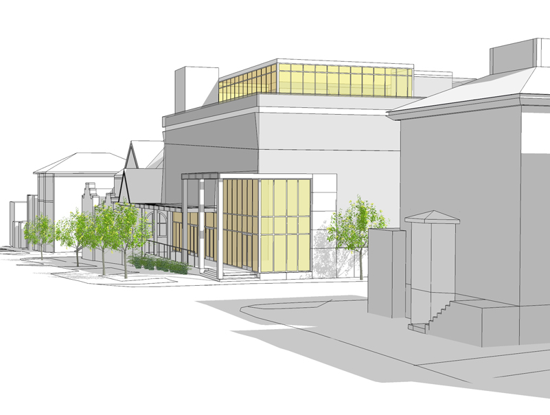 The latest design for the proposed Munjoy Hill performance hall, as presented to neighbors on December 10 by the Friends of the St. Lawrence Church.