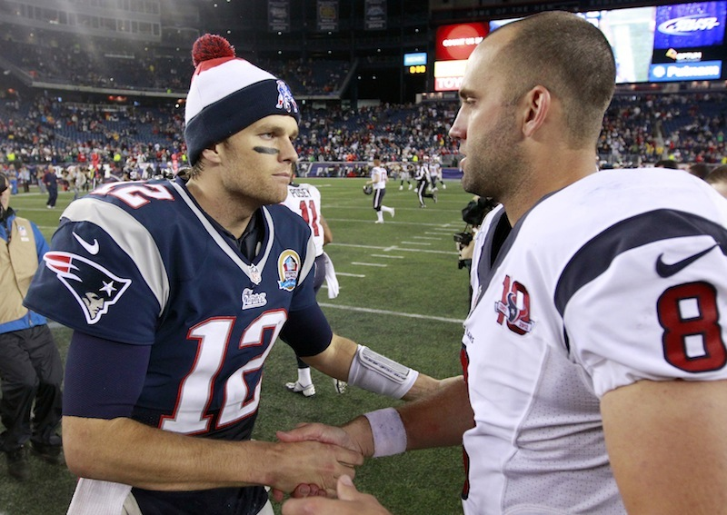 New England Patriots quarterback Tom Brady (12) shakes hands with Houston Texans quarterback Matt Schaub (8) following an NFL football game in Foxborough, Mass., Monday, Dec. 10, 2012. The Patriots won 42-14. (AP Photo/Steven Senne) NFLACTION12;