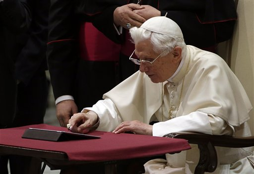 In perhaps the most drawn out Twitter launch ever, Pope Benedict XVI pushed the button on a tablet brought to him at the end of his general audience Wednesday.