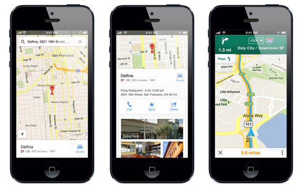 Screenshots of the new Google Maps iPhone app.
