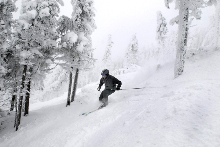 Skier Larry Ross skiing Saddleback's Casablanca glade, which Saddleback CEO Warren Cook made sure was cut by people long familiar with the mountain, in January 2010.