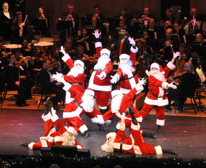 "The Portland Symphony Orchestra's ""Magic of Christmas"" shows include dancing Santas and other performers."