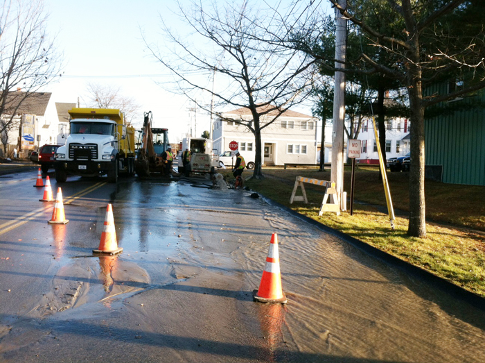 Scene of water main break on Pickett Street in South Portland Monday afternoon.