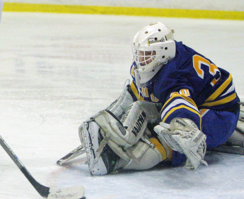 Dane Pauls, a junior goaltender, is among Falmouth's large group of returnees from a team that reached the Western Class A championship game last winter.