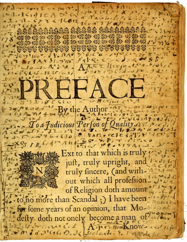 "The preface page of the ""Mystery Book"" showing Williams' writings in code."