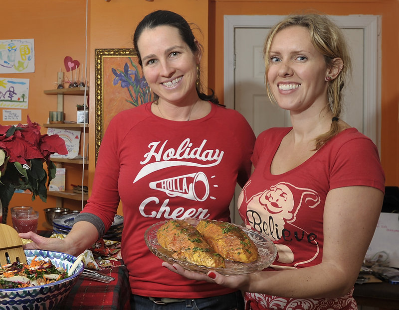 Kids Gone Raw chefs Elizabeth Fraser, left, and Maggie Knowles show off their holiday dish, maple Dijon papaya steaks.