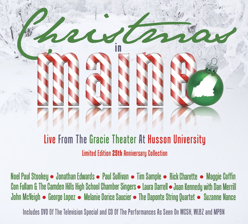 """Proceeds from the sale of the CD above and a DVD of the """"Maine Christmas Song"""" TV special, filmed at Gracie Theatre at Husson University in Bangor, will benefit hunger relief."""