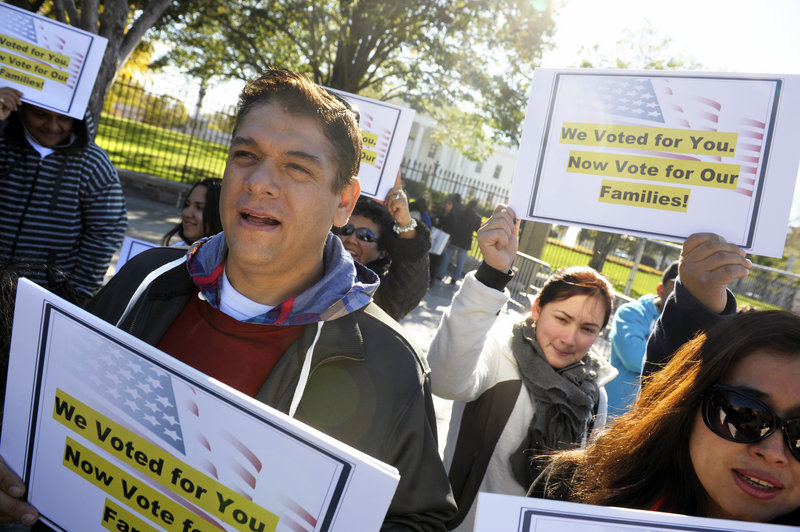 Members of immigration rights organizations, including Casa in Action and Maryland Dream Act, demonstrate in front of the White House last month, calling on President Obama to fulfill his promise of passing comprehensive immigration reform. Obama is expected to heed those calls early in his second term by pushing for sweeping changes in a wide-ranging bill.
