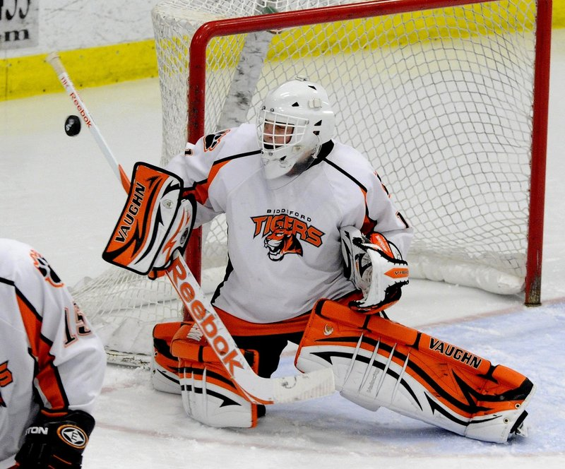 Jon Fields, entering his third season as the No. 1 goalie for Biddeford, has a career goals-against average below 2.00.