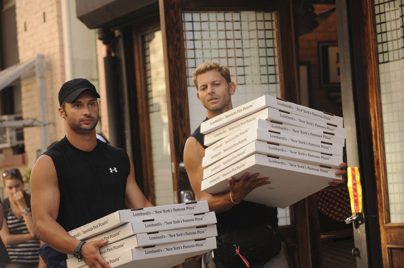 """James Davis, left, and Jaymes Vaughan in New York City on the Dec. 9 episode of """"the Amazing Race"""" on CBS. The friends spent more than a month earlier this year filming episodes of """"The Amazing Race,"""" but ultimately missed out on the $1 million prize."""