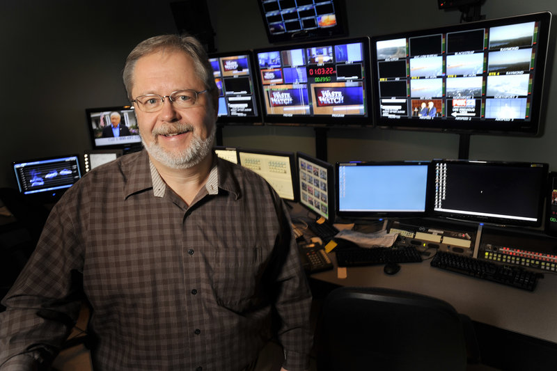 WGME television's chief engineer Craig Clark in the station's production control room.