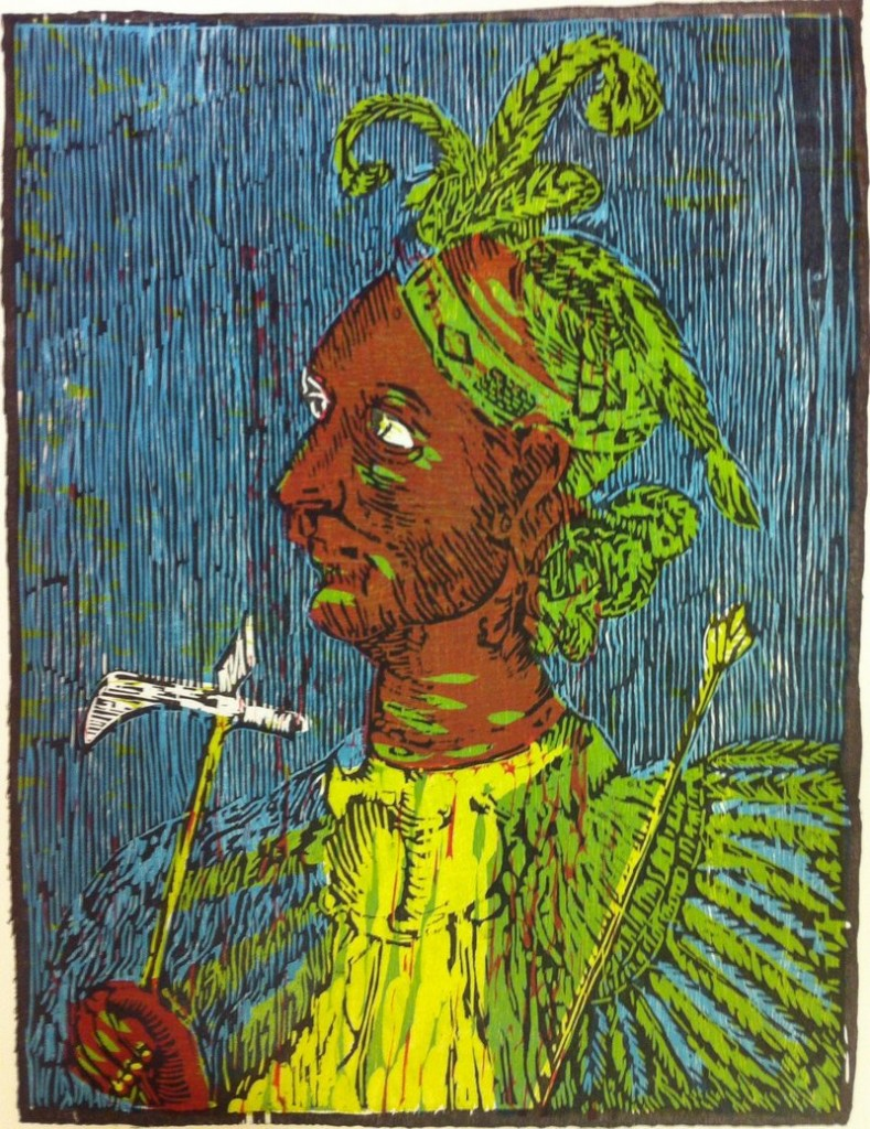 """Chlucco, The Long Warrior,"" a four-color woodcut by David Wolfe, at June Fitzpatrick Gallery."
