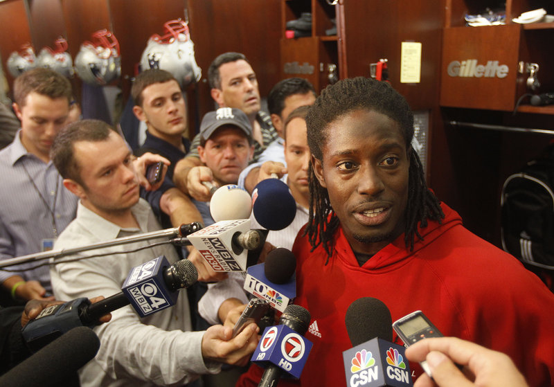 Deion Branch, who rejoined the New England Patriots this week, was the center of attention again, just like the old days when he was the Super Bowl MVP for the team.