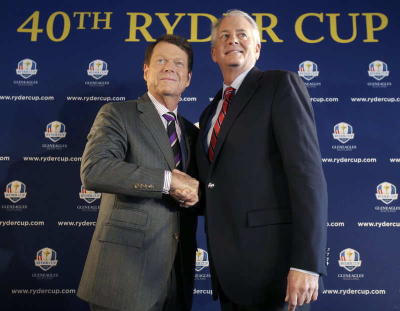 Tom Watson, left, poses with the PGA of America president, Ted Bishop, on Thursday in New York following the announcement that Watson will captain the 2014 U.S. Ryder Cup team in Scotland.
