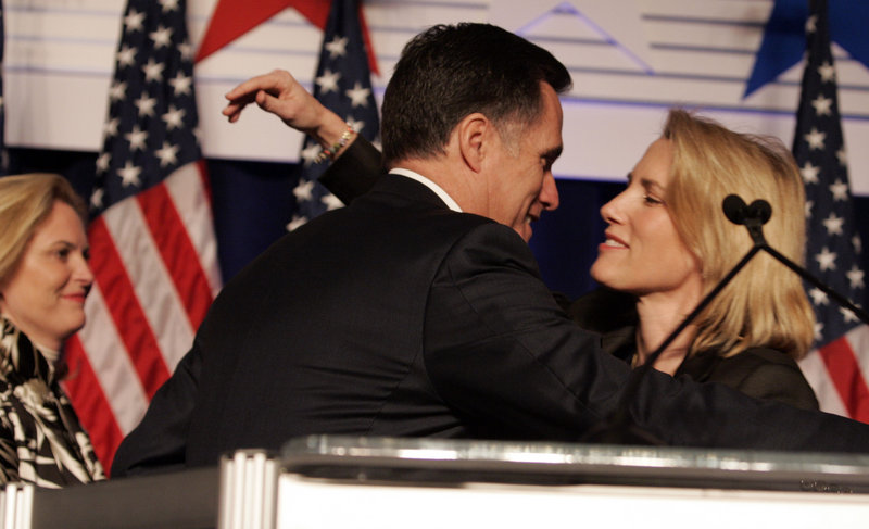 Republican Presidential candidate Mitt Romney gets a hug from Laura Ingraham in 2008.