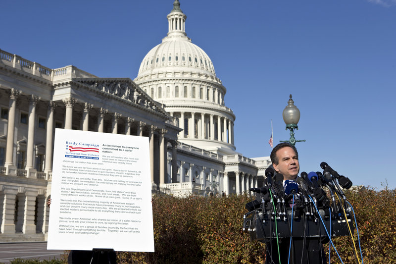 Rep. David Cicilline, D-R.I., speaks outside the Capitol in support of the Brady Campaign to Prevent Gun Violence, in Washington, Tuesday, Dec. 18, 2012. (AP Photo/J. Scott Applewhite)