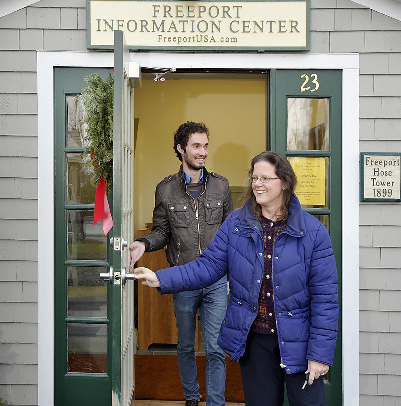 Jane Maguire-Tyce and Sylvain Gauliere, her daughter's boyfriend who took the train from Boston, leave the Freeport Information Center on Wednesday.