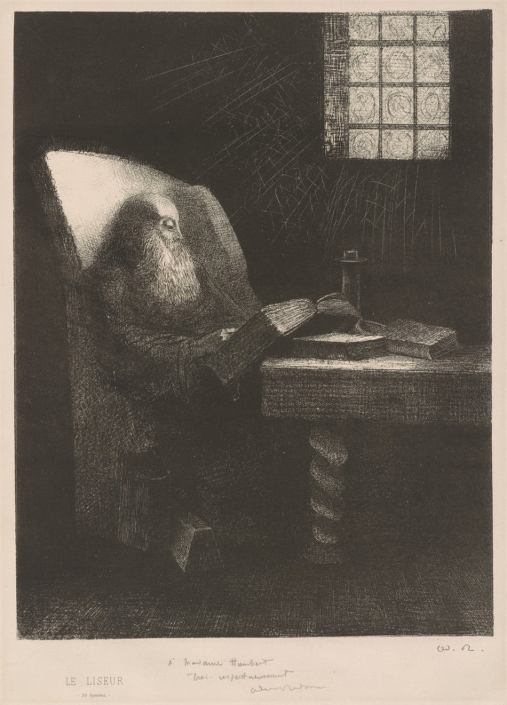 """The Reader,"" 1892 lithograph by French artist Odilon Redon."