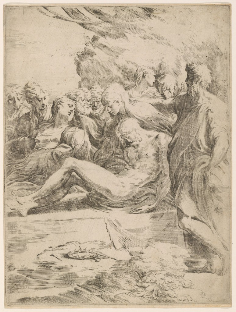"""The Entombment,"" 16th-century etching by Italian artist Parmigiano."