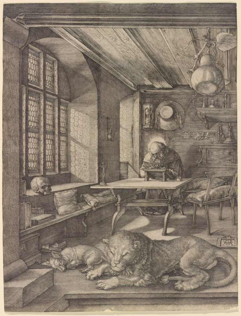 """St. Jerome in His Study,"" 1514 engraving by German artist Albrecht Durer."