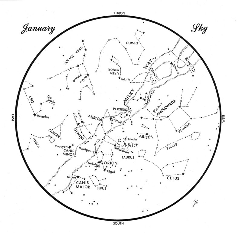 This chart represents the sky as it appears over Maine during January.  The stars are shown as they appear at 9:30 p.m. early in the month, at 8:30 p.m. at mid-month and at 7:30 p.m. at month's end. Jupiter is shown in its mid-month position. To use the map, hold it vertically and turn it so that the direction you are facing is at the bottom.