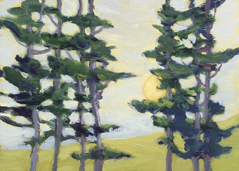 """Beyond the Woods,"" a painting by Sally Loughridge of South Bristol, who turned a series of small oil paintings into a book, ""Rad Art: A Journey Through Radiation Treatment."""