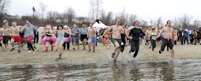 Those who enjoy an icy dip in the Atlantic in winter will have two opportunities to dive in – and for a good cause, to boot. The Polar Bear Plunge and 5K Race, benefiting the Natural Resources Council of Maine, is Monday at the East End Beach in Portland. And the Lobster Dip to support the Maine Special Olympics is Tuesday in Old Orchard Beach. Pictured, the scene at the 2012 Plunge.